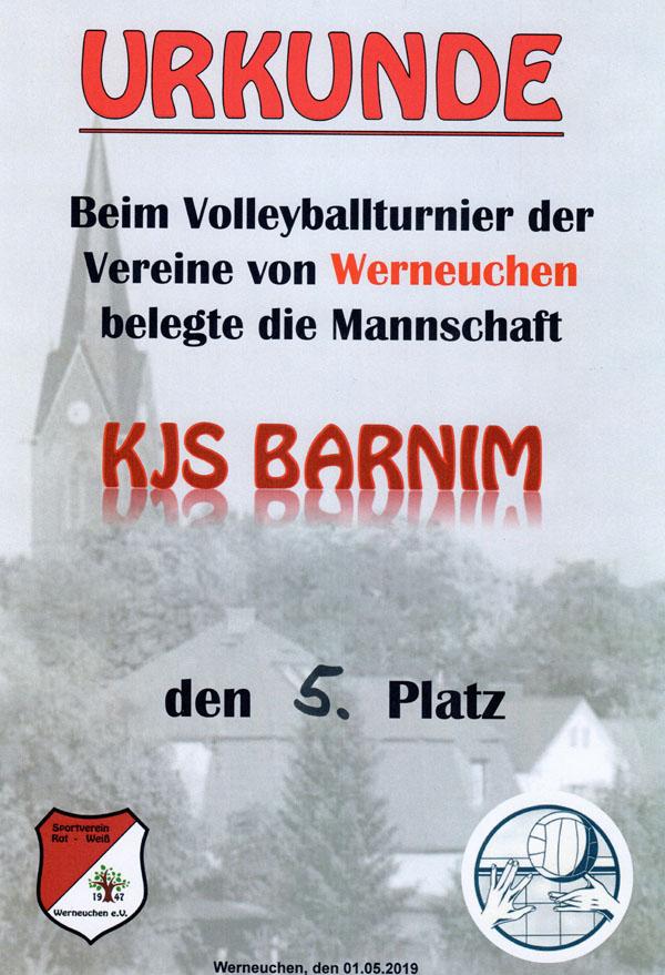 Urkunde Platz 5 beim Volleyballturnier der Vereine